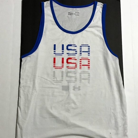 5329fcf7 UA Under Armour Mens USA Tank Top Muscle T Shirt